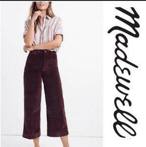 NWT Madewell Navy Velveteen Wide Leg Crop Pants